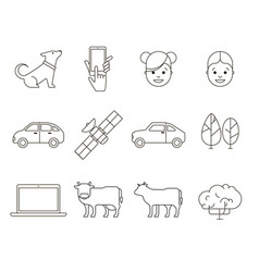 Outline web icons collection vector