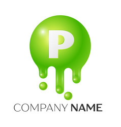 P letter splash green dots and bubbles letter vector