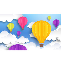 Paper cut balloons sky pastel background cute vector