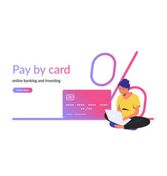 Pay card for online banking and investing vector