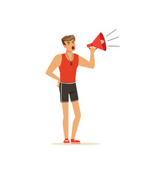 Professional fitness coach yelling with megaphone vector