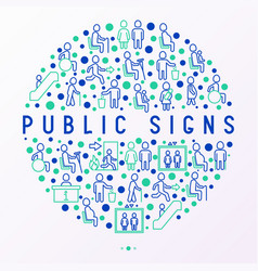 public signs concept in circle thin line icons vector image
