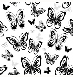Repeating white pattern with butterflies vector