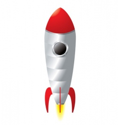 rocket cartoon vector image