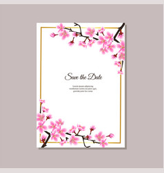save date floral card with sakura flowers vector image
