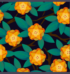 Seamless abstract floral pattern yellow for girl vector