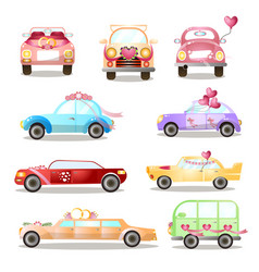 set different colorful wedding or holiday cars vector image