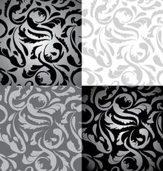 Set of 4 Seamless Elegant Floral Background vector image