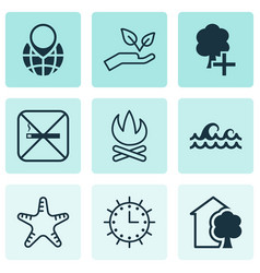 Set of 9 ecology icons includes cigarette pin vector