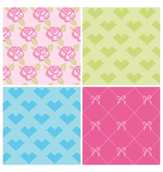 Set of Backgrounds - Stitch Roses and Hearts vector