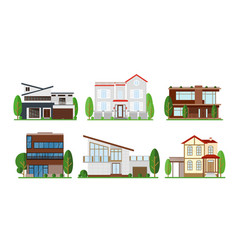 set of home exterior design vector image vector image