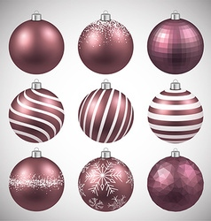 Set of realistic pink christmas balls vector