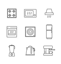 set simple kitchen appliances icon in trendy vector image