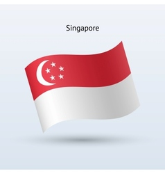 Singapore flag waving form vector