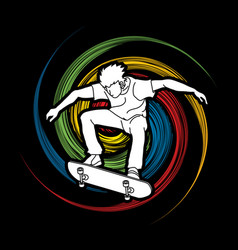 skateboarder jumping vector image