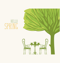 Spring landscape with table for two under tree vector