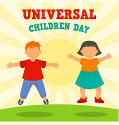 sunny children day concept background flat style vector image