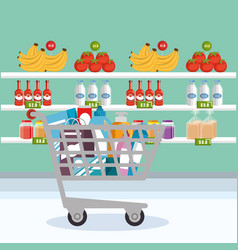 Supermarket groceries in shopping cart vector