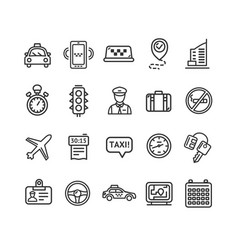 Taxi services icon thin line set vector