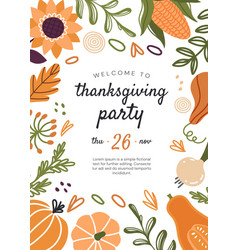 thanksgiving party invitation for november 26th vector image
