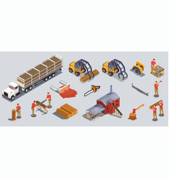 Timber mill icons collection vector