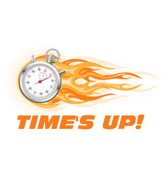 times up hurry up - burning stopwatch icon hot vector image