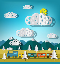 train on landscape flat design paper cut nature vector image