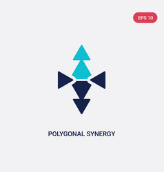 two color polygonal synergy shapes icon from vector image