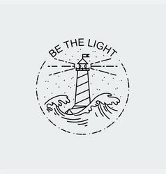 vintage of thin line sea beacon icon vector image