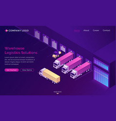 warehouse logistics solutions isometric landing vector image