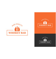 whiskey bottle logo set on white background vector image