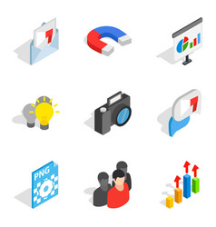 Work on computer icons set isometric style vector