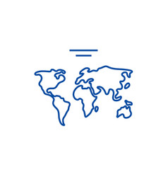 world map line icon concept world map flat vector image
