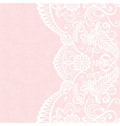 Background with white lace pattern vector image vector image