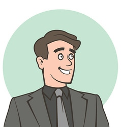 Happy smiling businessman looking away vector image vector image