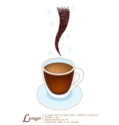 Lungo Coffee in A White Glass Cup vector image vector image