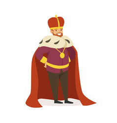 majestic emperor in red ermine mantle fairytale vector image