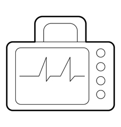Monitor with cardiogram icon outline style vector