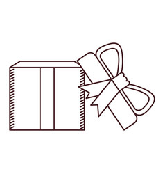 monochrome silhouette of opened gift box with vector image vector image