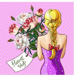pop art girl with flower bouquet vector image vector image