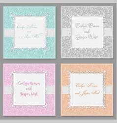Elegant wedding invitation set beautiful stylish vector