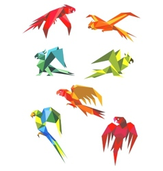 Flying colorful parrots in origami style vector image vector image