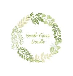 green doodle circle wreath vector image