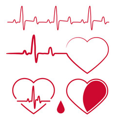 heart cardiogram wavesheartbeat graph red sign vector image vector image