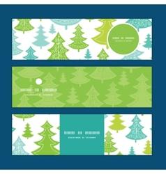 Holiday christmas trees horizontal banners vector