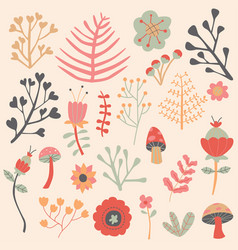 flowers autumn editable collection set vector image vector image