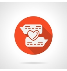Online flirting round red icon vector image