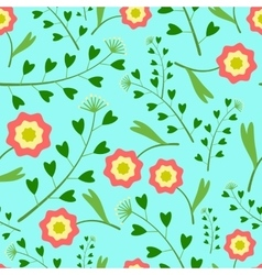 Pattern with Flowers and Grass vector image