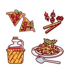 set of tasty italian traditional food vector image