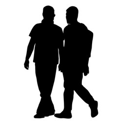 silhouettes of gay men holding hands vector image vector image